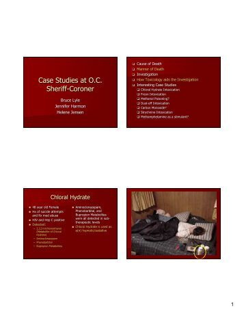 Case Studies at O.C. Sheriff-Coroner