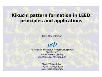 Kikuchi pattern formation in LEED - Universität Osnabrück