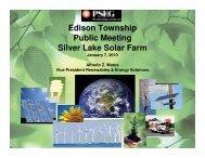 Edison Township Public Meeting Silver Lake Solar Farm - PSEG