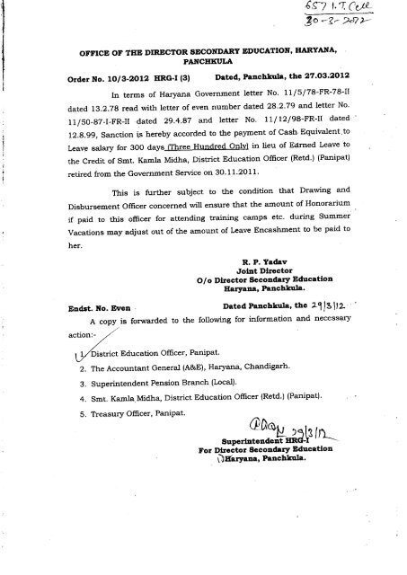 In terms of Haryana Government letter No  11/5/78-FR-78-II