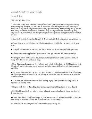 Chương 3: Mô hình Tổng Cung, Tổng Cầu Harvey B. King Dịch viên ...