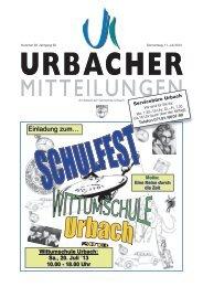 Urbacher Mitteilungsblatt vom 11.07.2013 - Gemeinde Urbach