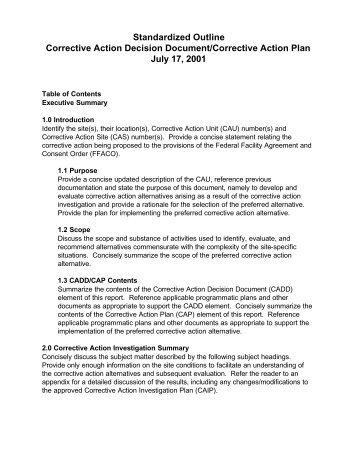 Corrective Action Decision Document/Corrective Action Plan