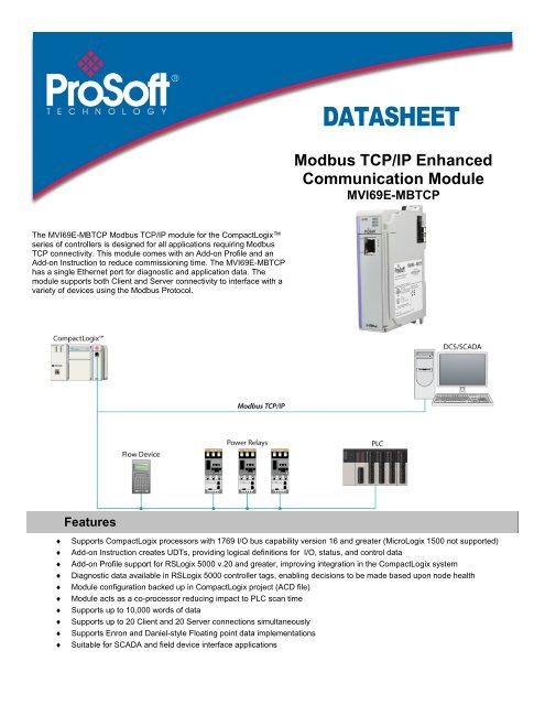 MVI69E-MBTCP Datasheet - ProSoft Technology