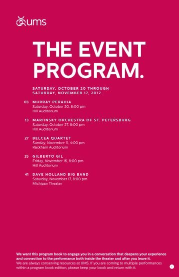 Program Book [PDF] - University Musical Society