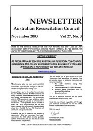 Newsletter November 2003 - Australian Resuscitation Council