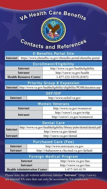 VA Program Contact Card - U.S. Department of Veterans Affairs