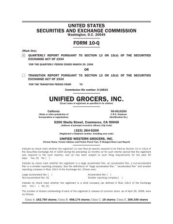 Unified Grocers, Inc.
