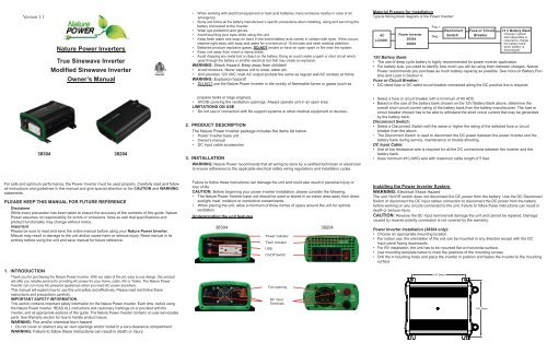 Nature Power Inverters True Sinewave Inverter Camping