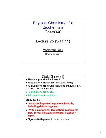 Lecture Note 25 - UIC Department of Chemistry
