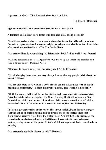 Against The Gods The Remarkable Story Of Risk Pdf