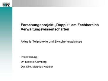"Forschungsprojekt ""Doppik"" am Fachbereich ... - Hochschule Harz"