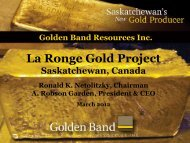 La Ronge Gold Project - Golden Band Resources Inc.