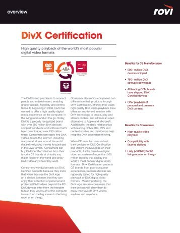 DivX Certification - Rovi