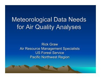 Meteorological Data Needs for Air Quality Analyses