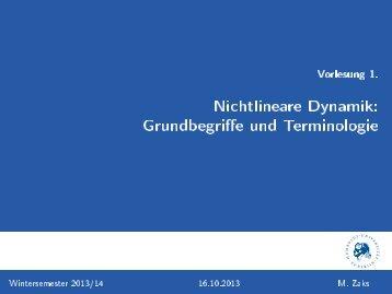 Vorlesung 1. [2ex] Nichtlineare Dynamik: Grundbegriffe und ...
