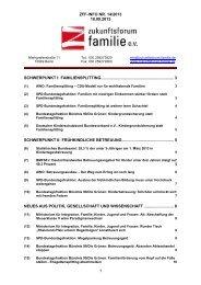 ZFF-INFO NR. 14/2013 18.09.2013 1 SCHWERPUNKT I: FAMILIENSPLITTING ...