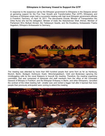 Ethiopians in Germany Vowed to Support the GTP