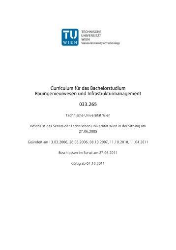 Curriculum für das Bachelorstudium Bauingenieurwesen und ...