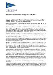 Vereinsgeschichte Yacht Club Zug von 1942 – 2012