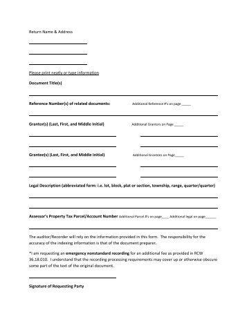 Recording Cover Sheet - Douglas County