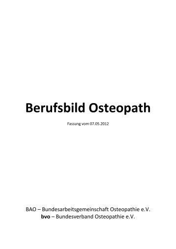 bvo Berufsbild Osteopath 120507 - Bundesverband Osteopathie eV