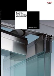 Beschläge für Horizontale Schiebewände Preisliste 2012