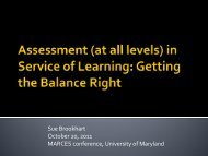 Assessment (at All Levels) in Service of Learning - Maryland ...