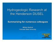 Hydrogeologic Research at the Henderson DUSEL