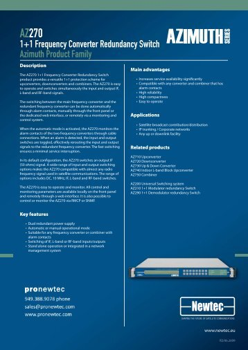 AZ270 1+1 Frequency Converter Redundancy ... - TBC Integration
