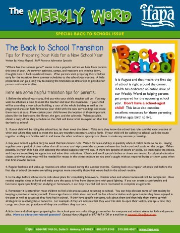 Back-to-School Resources for Parents - ifapa