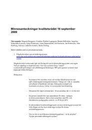 Minnesanteckningar kvalitetsrådet 16 september 2009