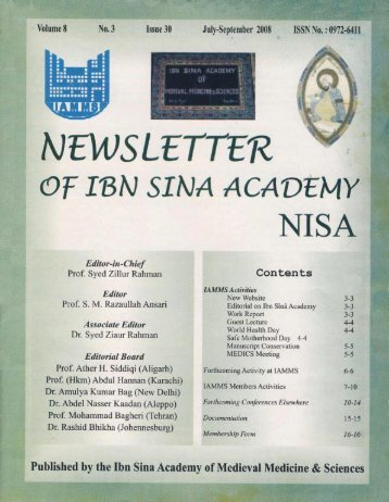 NISA 2008 - Ibn Sina Academy of Medieval Medicine and Science