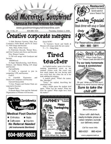 Creative corporate mergers - Good Morning Sunshine.ca