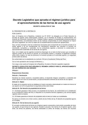 Decreto Legislativo que aprueba el régimen jurídico para el ... - Cepes