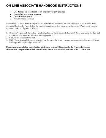 Online Associate Handbook Instructions - Delaware North
