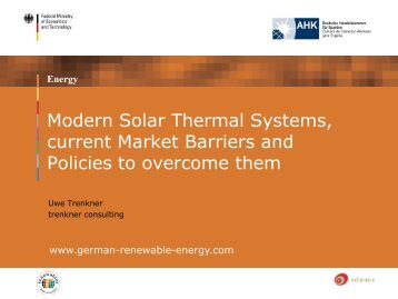 Modern Solar Thermal Systems,current Market Barriers andPolicies ...