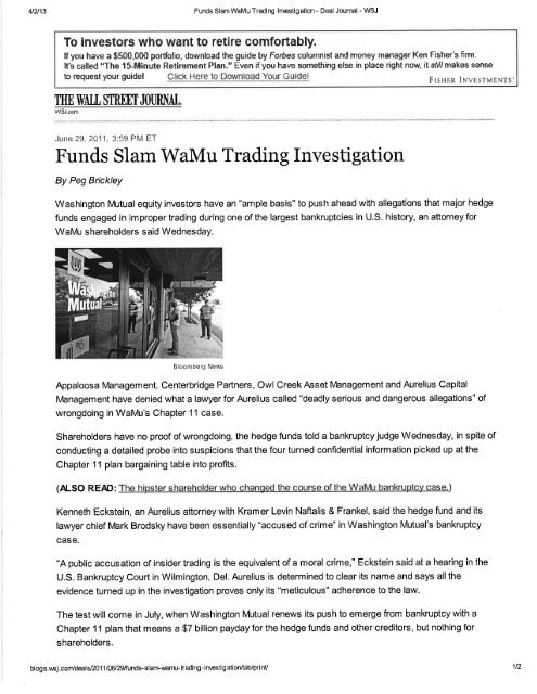 Funds Slam WaMu Trading Investigation - Susman Godfrey