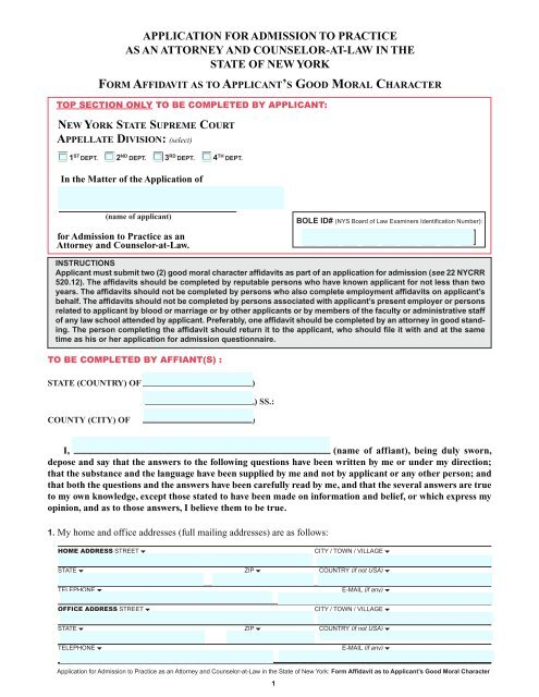 Form Affidavit as to Applicant's Good Moral Character