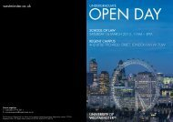 Law open day programme - University of Westminster