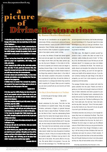 a Divine Restoration - The Carpenter's Ministry