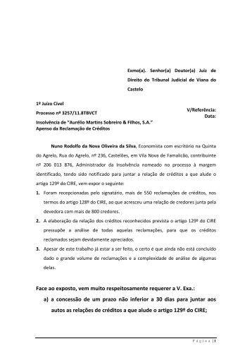 Lista provisória de credores corrigida - Nuno Oliveira da Silva