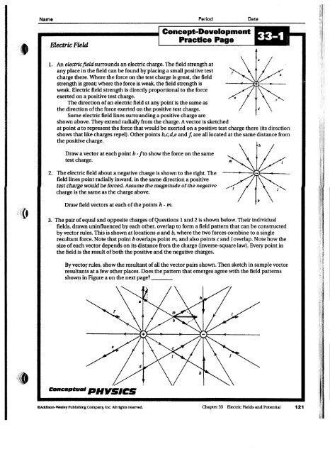 Concept Development 33 1 Electric Field Practice Page