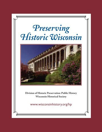 Preservation Plan - Wisconsin Historical Society