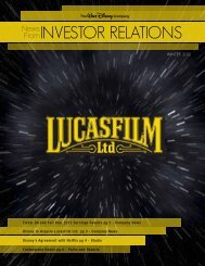 INVESTOR RELATIONS - The Walt Disney Company