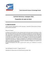Contrats Doctoraux campagne 2012 Proposition de sujet de thèse
