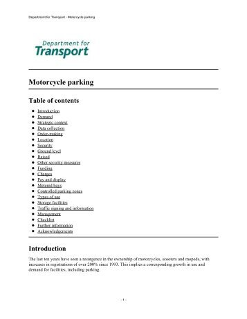 Department for Transport – Motorcycle Parking – 2003 - Right To Ride