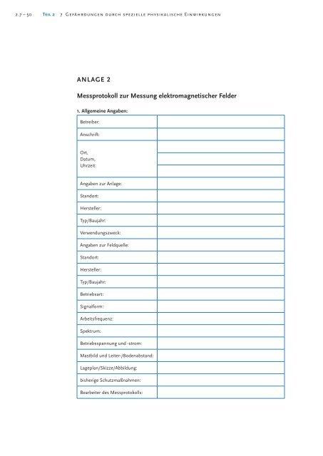 ANLAGE 2 Messprotokoll zur Messung elektromagnetischer Felder