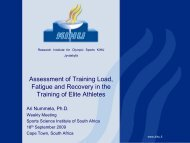 Assessment Of Training Load, Fatigue And Recovery In