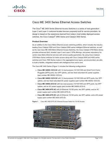 Cisco ME 3400 Series Ethernet Access Switches - SINA Trading Co.